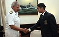 Admiral Nirmal Verma, Chief of Naval Staff welcomes Aman Vyas in his office at New Delhi.jpg