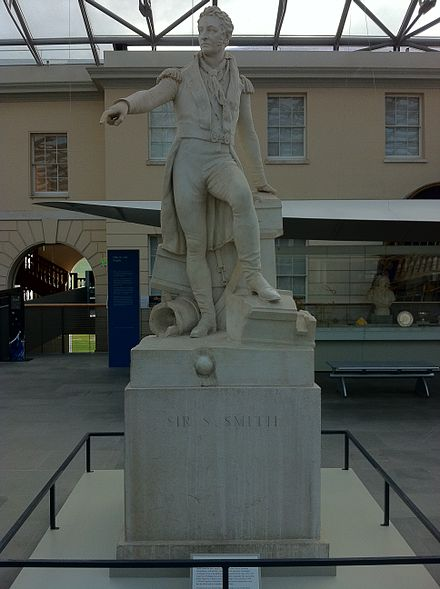 Statue commissioned as a national monument, pursuant to vote of the House of Commons in 1842, now in the National Maritime Museum Admiral Sir William Sidney Smith.jpg