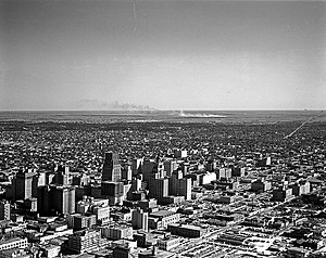 History of Houston - Aerial View of downtown Houston, 1951