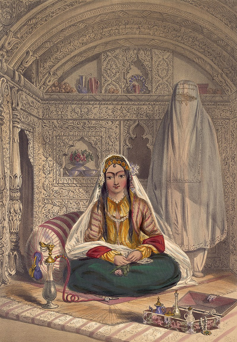 An 1842 Lithography work by James Rattray showing a Persian (Qizilbash) woman in Afghanistan with a burqa behind her.
