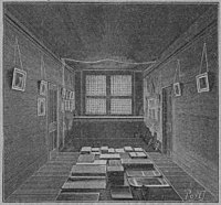 Woodcut? of the same room, but much more evenly lit, with diffuse light in the former shadows