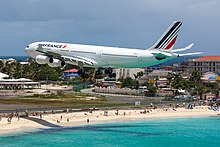 An Air France Airbus A340 300 Flying Over Maho Beach Shortly Before Touch Down