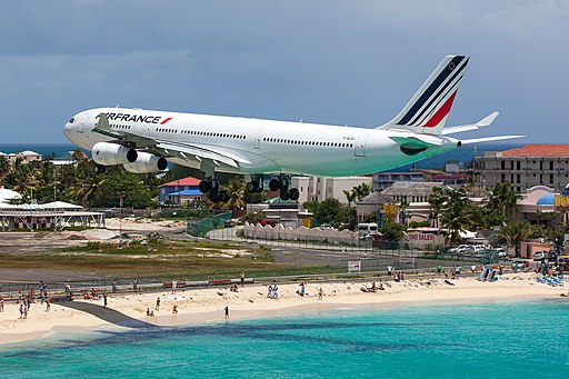 Air France Airbus A340-200 (F-GLZJ) on short finals at Princess Juliana Airport