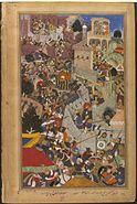 Akbar shoots Jaimal at the siege of Chitor