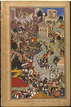 Akbar shoots Jaimal at the siege of Chitor