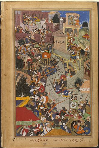 History of Rajasthan - Akbar shoots the Rajput commander Jaimal using a matchlock, during the Siege of Chittor (1567–1568).