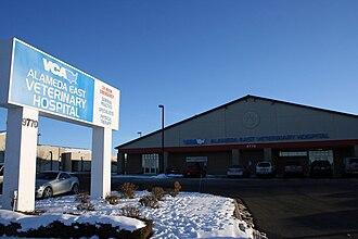 Alameda East Veterinary Hospital - The hospital's main entrance and parking lot.