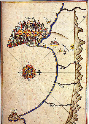 Alaiye - Piri Reis map of Alanya from 1525, shortly after the beylik was incorporated into the Ottoman Empire.