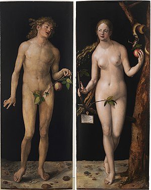 Apple (symbolism) - Adam and Eve: a classic depiction of the biblical tale showcasing the apple as a symbol of sin. Albrecht Dürer, 1507; oil on panel.