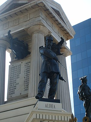 Juan de Dios Aldea - Statue of Juan de Dios Aldea on the Monument to the Heroes of Iquique, Valparaíso