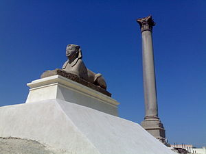 History of Alexandria - Alexandria, sphinx made of pink granite, Ptolemaic, Pompey's Pillar.