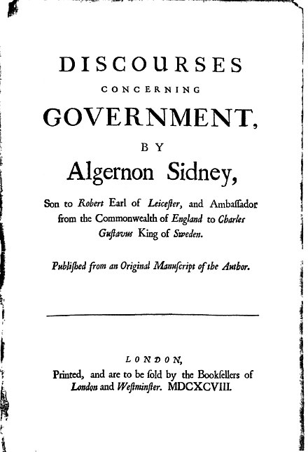 Title page of Sidney's Discourses Concerning Government (1698) Algernon Sidney 1622-1683 Discourses 1698.jpg