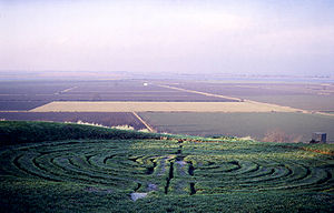 Alkborough - Julian's Bower turf maze overlooks Alkborough Flats and the confluence of the Rivers Trent, Ouse and Humber