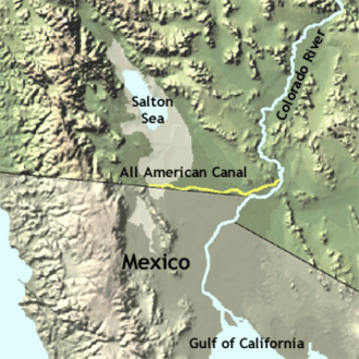 All-American Canal - Map showing the All-American Canal (yellow)
