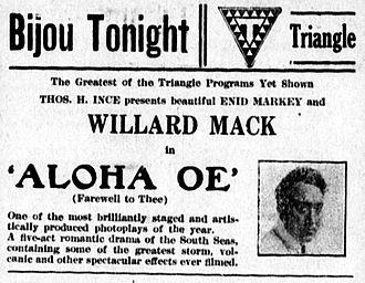 Aloha Oe (film) - Newspaper advertisement.