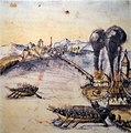 Alter Zürichkrieg - Rapperswiler stecken am 21. Mai 1443 Hurden in Brand, Chronik Werner Schodoler, 1514 - Stadtmuseum Rapperswil 2013-01-05 16-32-27 -ACD5-.JPG