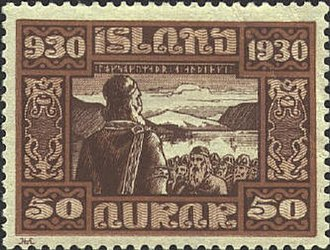 Anarcho-capitalism - A postage stamp celebrating the thousandth anniversary of the Icelandic parliament. According to a theory associated with the economist David Friedman, medieval Icelandic society had some features of anarcho-capitalism. Chieftaincies could be bought and sold, and were not geographical monopolies; individuals could voluntarily choose membership in any chieftain's clan.