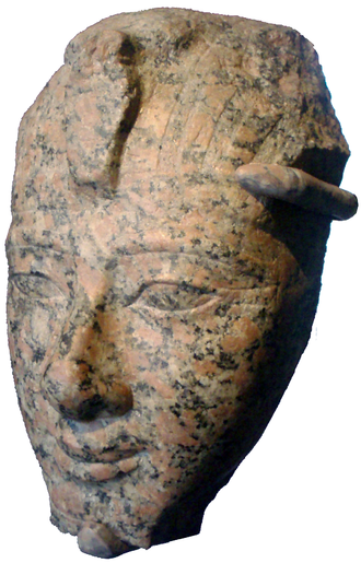 Amenhotep II - Large statue head of Amenhotep II on display at the Brooklyn Museum.