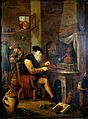 An alchemist in his laboratory. Oil painting by a follower o Wellcome L0016065.jpg