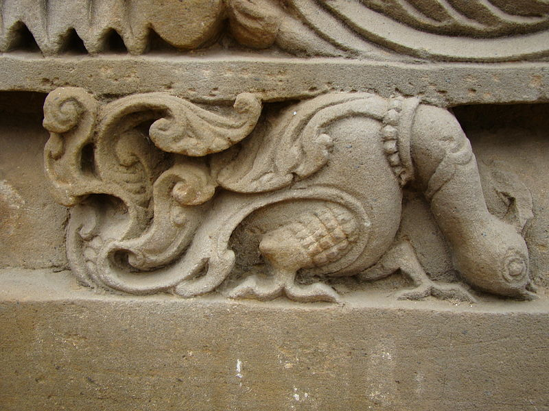 File:An exquisitely carved peacock in the Abhaneri temple of Harshat mata.JPG