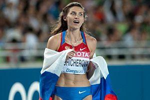 2011 World Championships in Athletics – Women's high jump - Anna Chicherova celebrating her win in Daegu