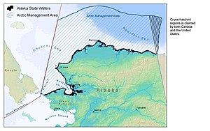 Beaufort Sea - The cross-hatched wedge-shaped region in the east is claimed by both Canada and the US