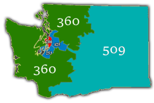 Area code 206 - Numbering plan areas of Washington, with 206 highlighted in red.