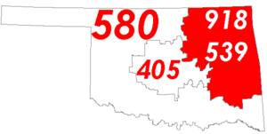 Map of Oklahoma with area codes 918 and 539 in Red
