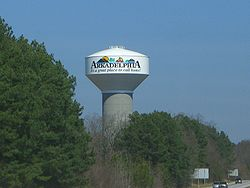 An Arkadelphia watertower seen from Interstate 30