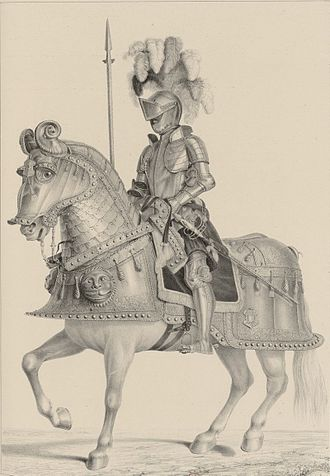 Equestrian armour of Emperor Charles V. Piece drawn from the collection of the Royal Armoury of Madrid Armadura de Carlos V a caballo.jpg