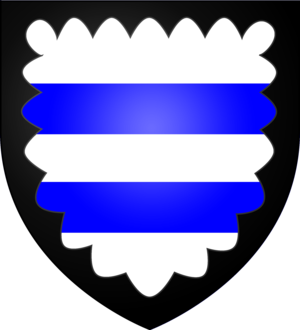 Sir Thomas Parr - Arms of Parr: Argent, two bars azure a bordure engrailed sable