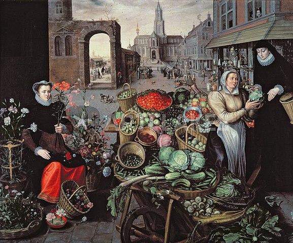 Marché aux fleurs et légumes, en 1590. Toile d'Arnout de Muyser.