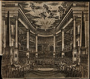 Opernhaus am Taschenberg - Interior of the opera house in 1678