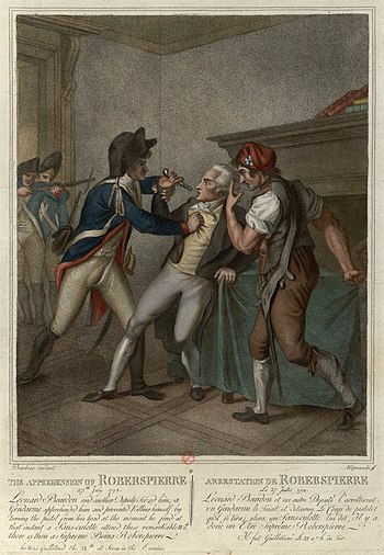 Title: Arrestation et tentative de suicide de Robespierre le 17 juillet 1794 *Description: estampe *Artist: anonyme *Year: 1796