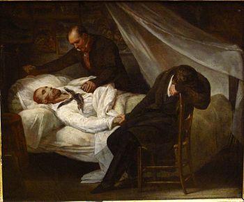 La mort de Géricault , par Ary Scheffer. A son chevet, figurent ses amis le colonel Bro de Comères et le peintre Pierre-Joseph Dedreux-Dorcy.