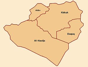 Disputed territories of Northern Iraq - Districts of Kirkuk Governorate