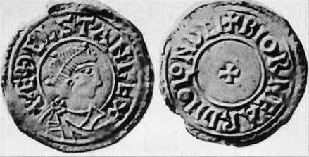 Coin of AEthelstan Rex, small cross pattee type, London mint, moneyer Biorneard Athelstan 924-939 coin.jpg