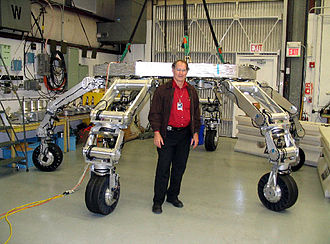 ATHLETE - Quarter-scale ATHLETE prototype, with principal investigator Brian Wilcox in foreground.
