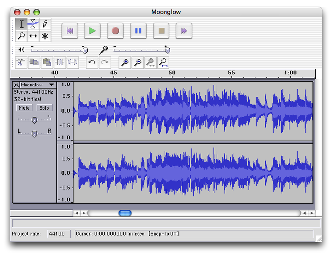 Screenshot of Audacity running on Mac OS X Sou...