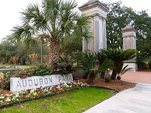 Audubon Park, New Orleans - Audubon Park entrance on the St. Charles Avenue side, directly across from Gibson Hall