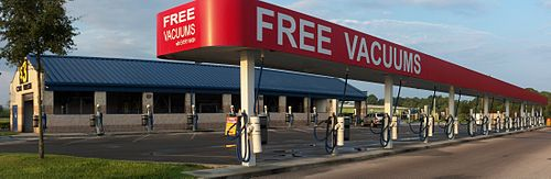 "Automotive vacuums in Bayonet Point, Florida. Although the sign says ""free"", a paid car wash is required first."