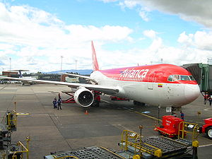 Transport in Colombia - Avianca Boeing 767-200ER parked at the El Dorado Terminal