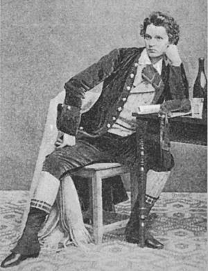 1858 in Sweden - Axel Elmlund (1838-1894) as Richard Sheridan in his 20s