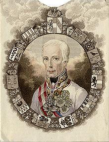 Bildnis von Franz I., Kupferstich von Josef Axmann, 1831, mit dem Dynastiewappen ganz oben, flankiert von den Wappen von Ungarn und Böhmen usw. (Quelle: Wikimedia)