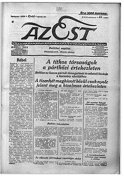 Az Est címlapja.jpg