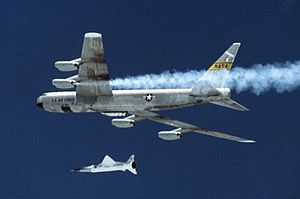 Mother ship - The Boeing X-43 being dropped from under the wing of a B-52 Stratofortress