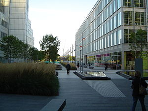 White City Place - The BBC Media Village plaza in 2004.