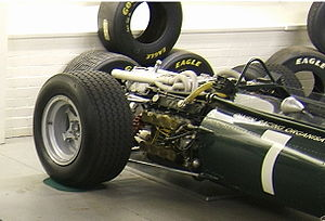 H engine - A BRM H16 engine, mounted in the back of a BRM P83 Formula One car.