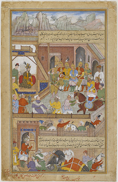 File:Babur at the Capture of Kabul in 910 H (A.D. 1504) from an Akbarnama.jpg