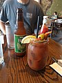 Bacon infused Bloody Mary with Pickled Okra Green beens and of course bacon French Press Lafayette Louisiana.jpg